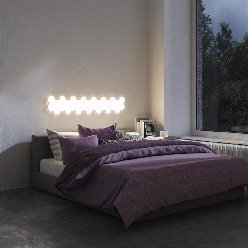 Tete de lit avec luminaire original