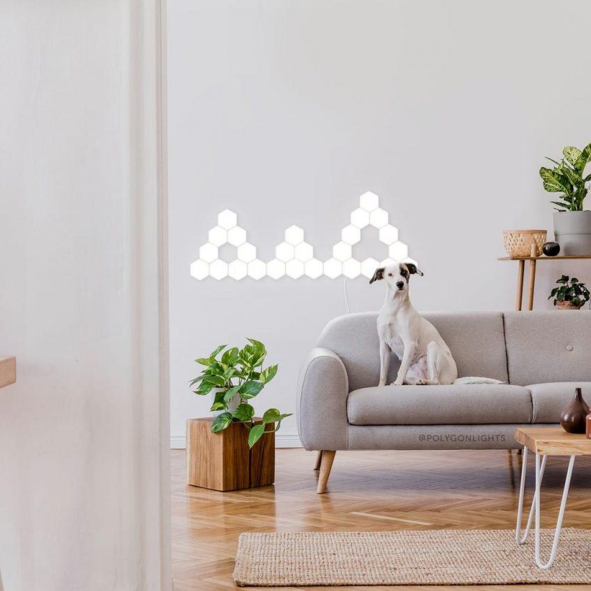 Salon avec des lampes LED orignales