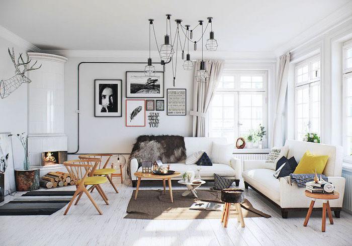 Très beau salon décoré avec des coloris neutres et inspiré de suède