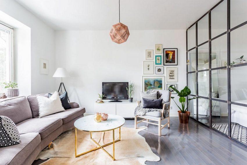 Salon avec canapé et meuble télé - décoration scandinave