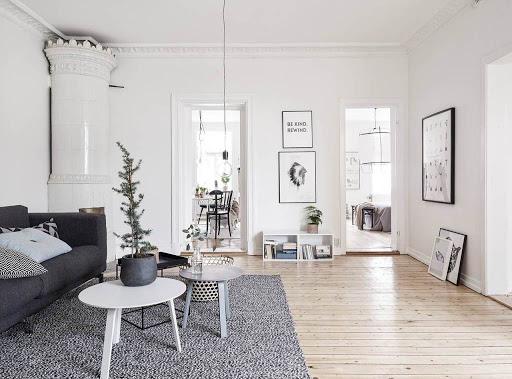 Maison aux murs blanc - salon scandinave
